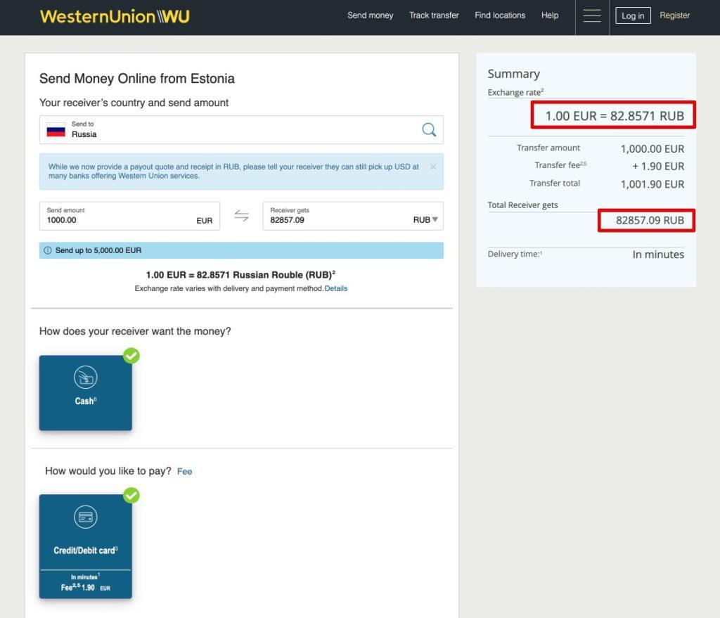 Saatke Western Unioniga Eestist raha Venemaale - sularaha